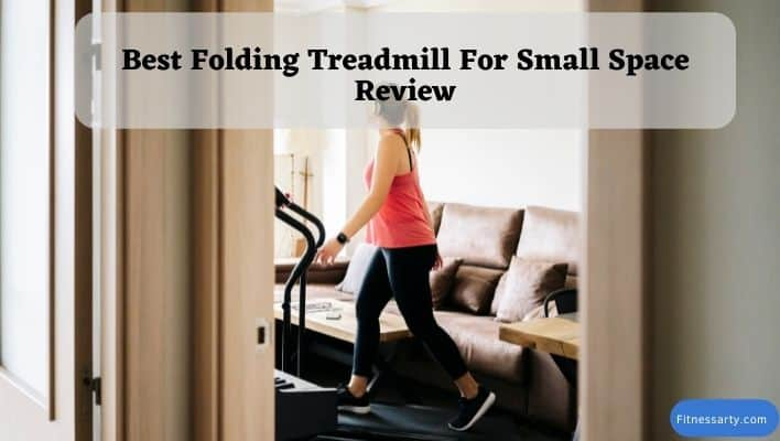 A girl using the best folding treadmill for small space like small home, apartment.