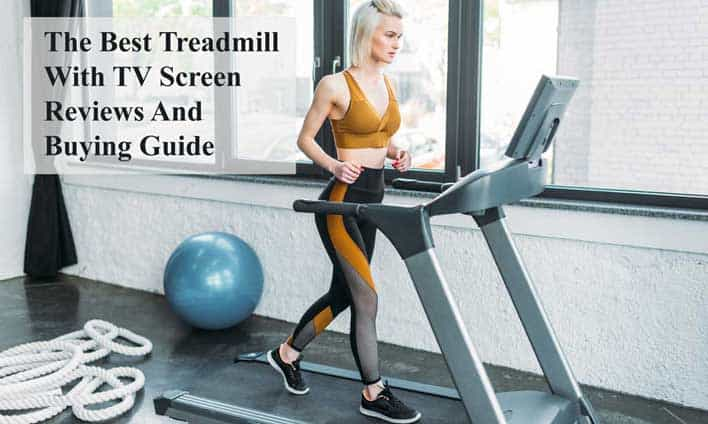 A girl using a treadmill which equipped with TV Screen, wifi, Bluetooth, Netflix, internet, mp3